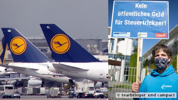 Protest gegen Staatshilfe an Lufthansa