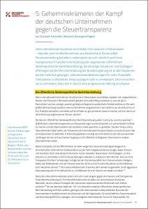 Unser Beitrag: Kampf von deutschen Unternehmen gegen Steuertransparenz